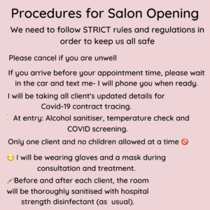 COVID-19 Procedures for salon re-opening